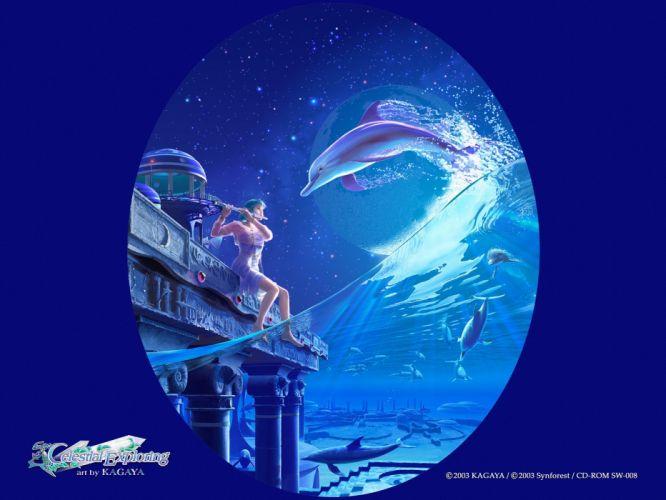blue anime Kagaya Yutaka dolphins underwater Celestial Exploring wallpaper