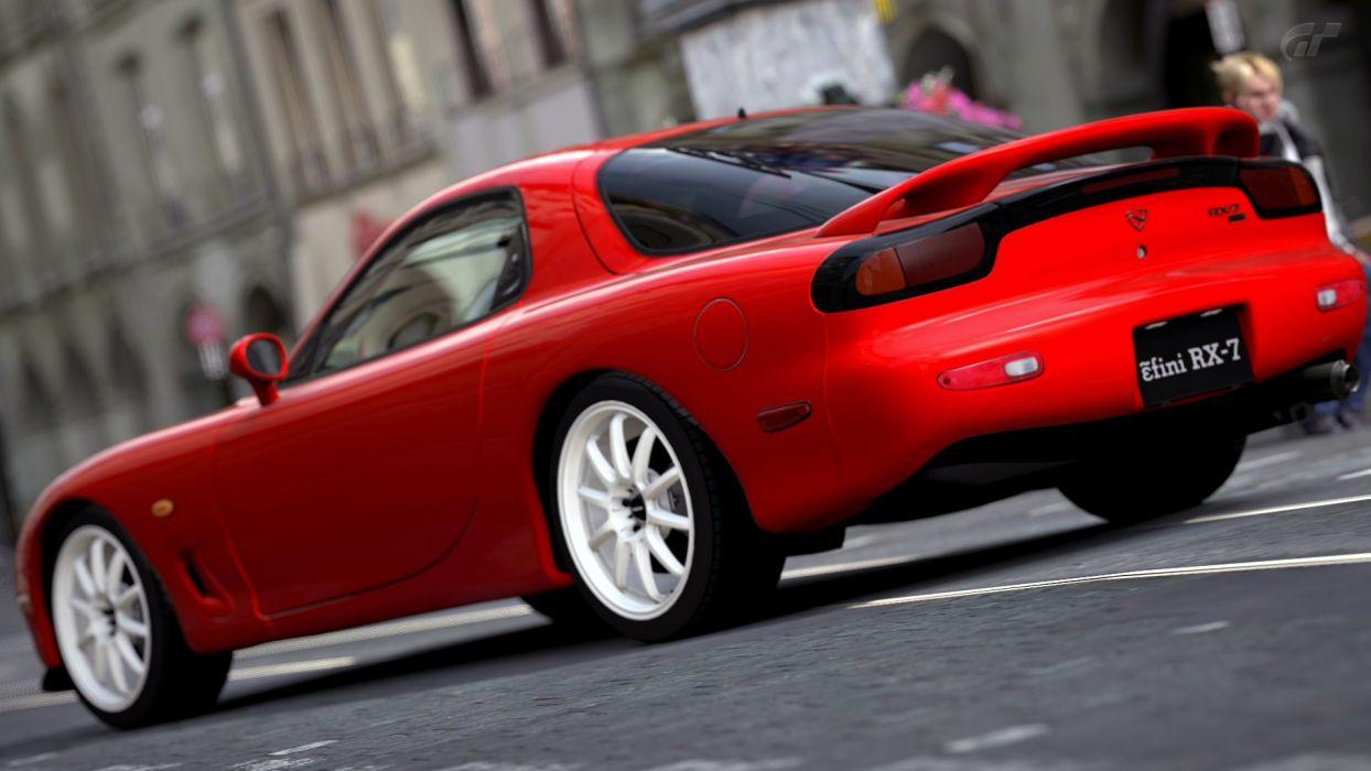 video games cars Mazda red cars RX-7 Gran Turismo 5 Playstation 3 wallpaper