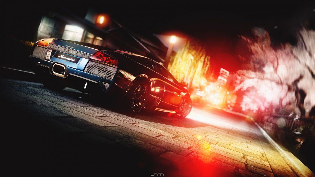 night lights cars Lamborghini Gran Turismo 5 Lamborghini Murcielago LP640 wallpaper