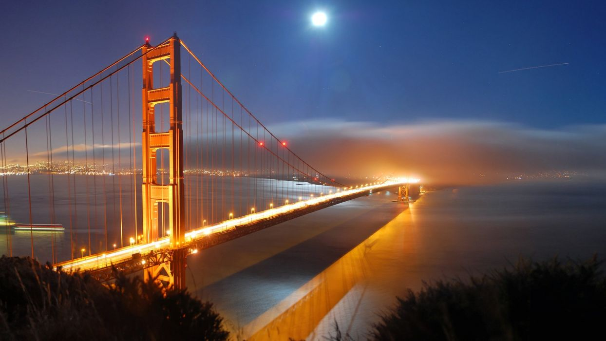landscapes cityscapes bridges Golden Gate Bridge San Francisco rivers wallpaper
