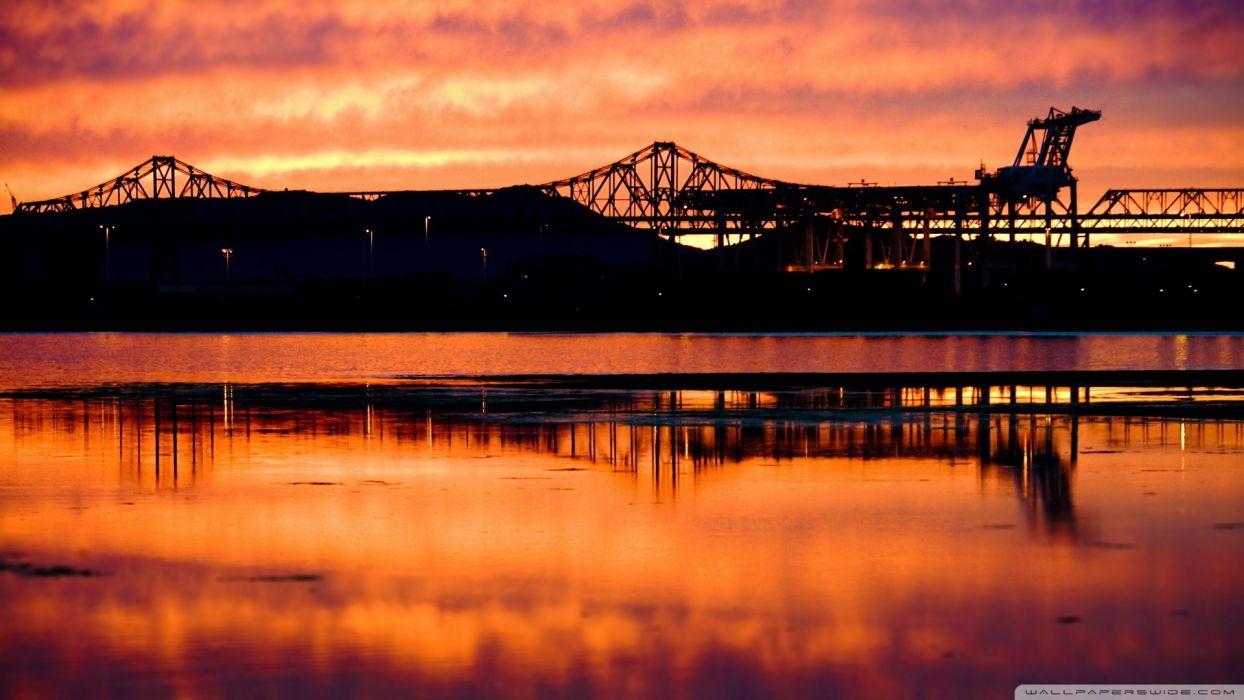 sunset bridges sea wallpaper