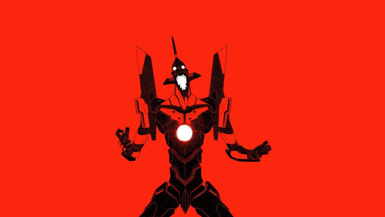 minimalistic mecha Neon Genesis Evangelion anime EVA Unit 01 red background wallpaper