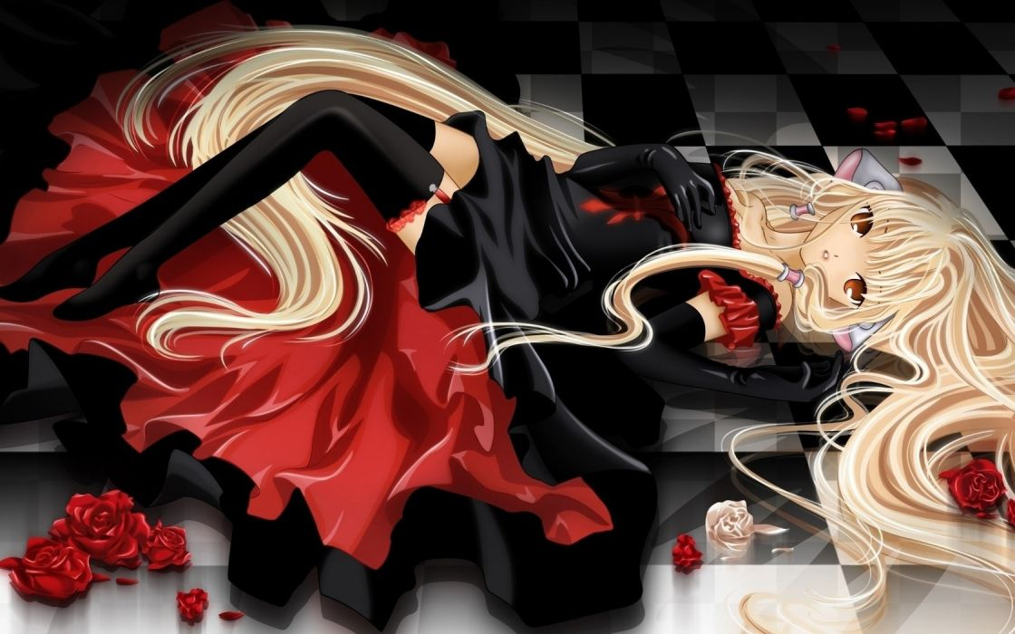 blondes Chobits Chii anime rose petals wallpaper