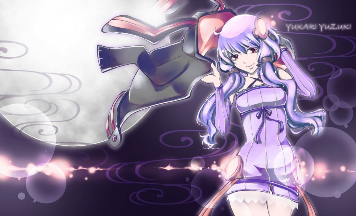 Vocaloid dress night text Moon purple long hair purple hair animal ears glowing twintails hoodies bunny ears purple dress Full Moon detached sleeves Yuzuki Yukari wallpaper