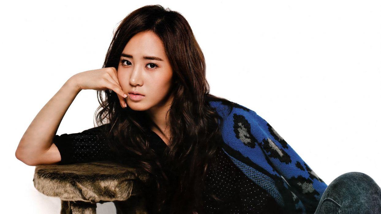 brunettes women models Girls Generation SNSD Asians Korean Korea Kwon Yuri K-Pop simple background South Korea wallpaper