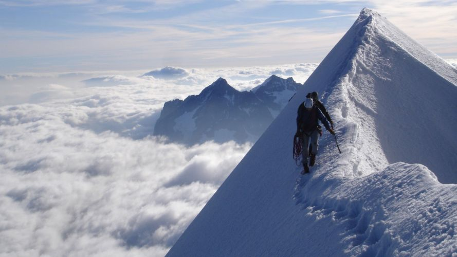 ice clouds snow peak snow landscapes mountaineers wallpaper
