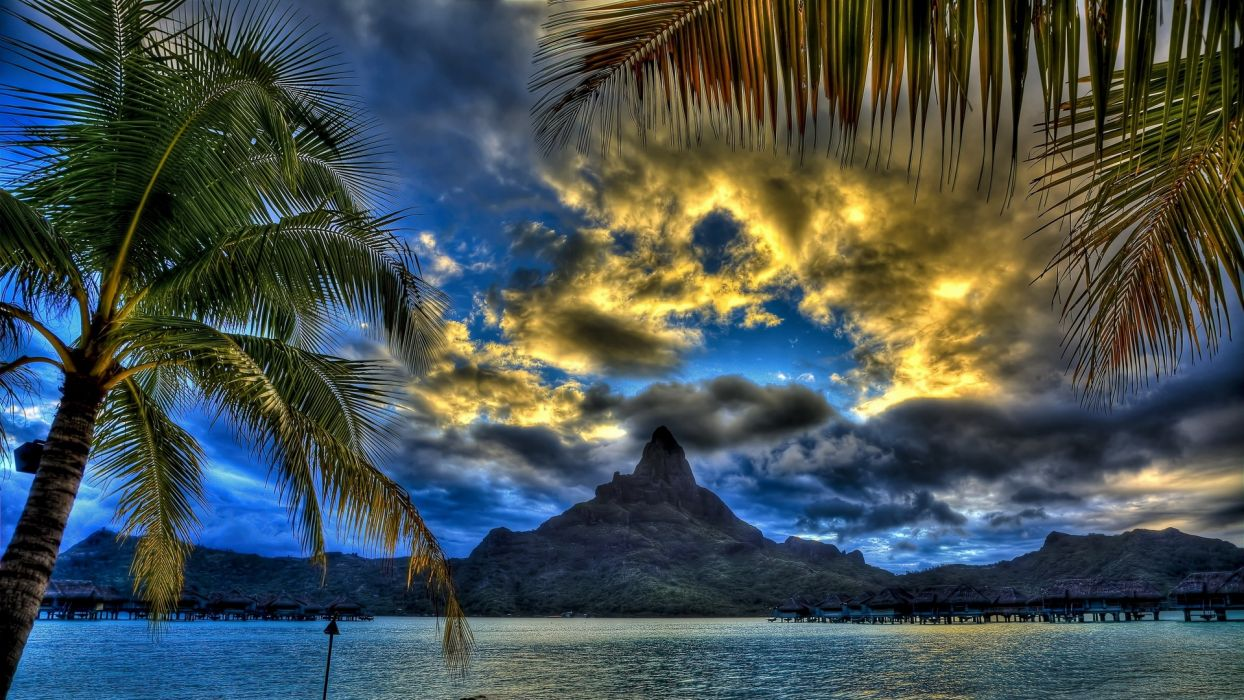 sunset mountains clouds landscapes nature Sun skylines grass fields palm trees HDR photography skyscapes wallpaper