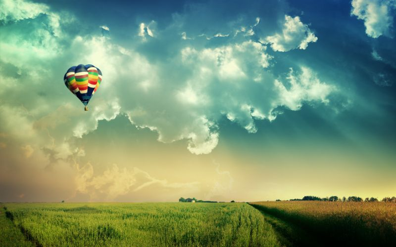 clouds landscapes nature fields hot air balloons skyscapes wallpaper