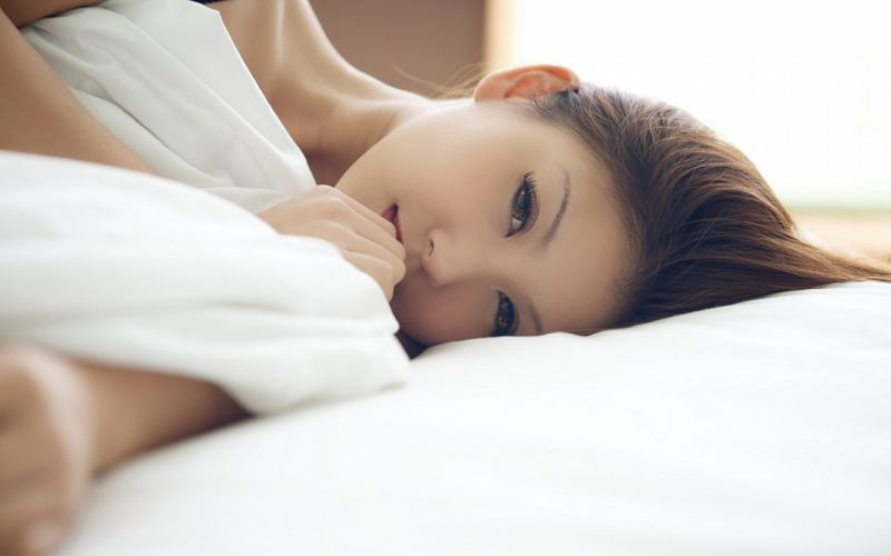 women eyes models Asians faces laying on side wallpaper