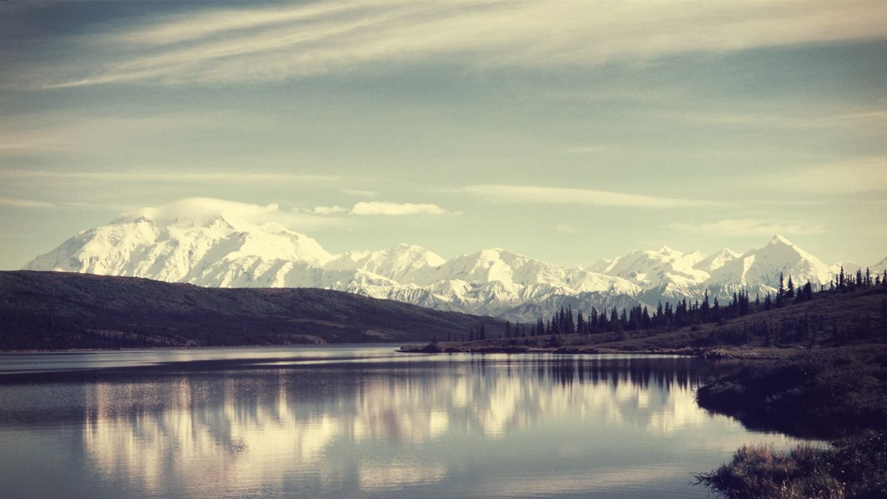 mountains clouds landscapes nature forests hills lakes skyscapes wallpaper