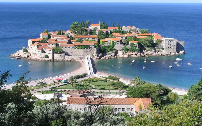 cityscapes buildings Sveti Stefan wallpaper