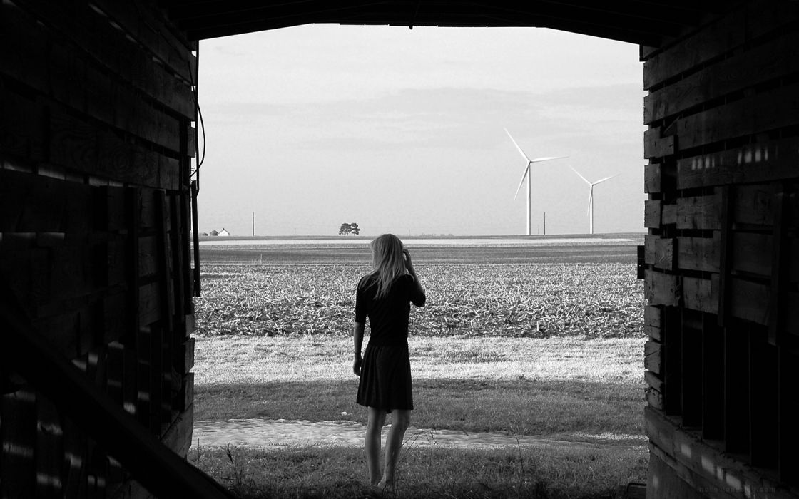 blondes women wind skirts outdoors grayscale barn wallpaper