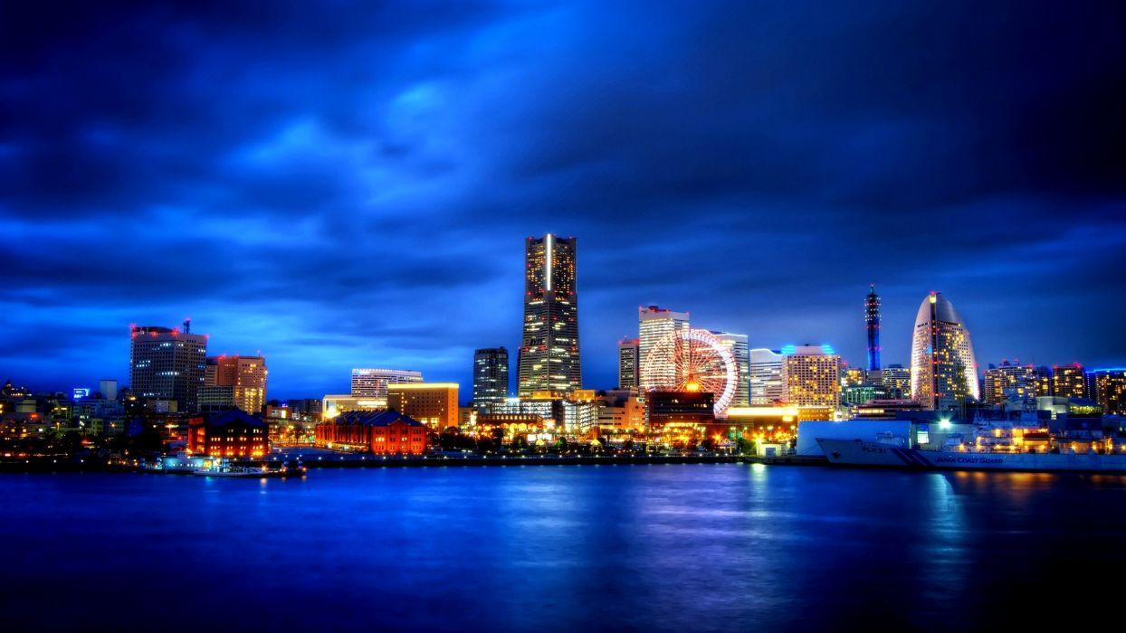 city ocean landscape night blue sky travel world hd wallpaper wallpaper
