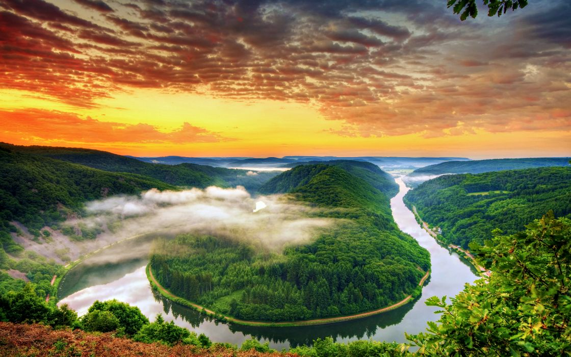 river sunset nature mountain landscape fog tree cloud hd wallpaper wallpaper