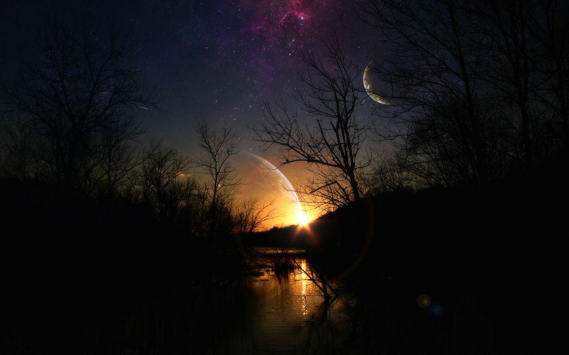nature lake landscape reflection fog stars fantasy planet ultrahd 4k wallpaper wallpaper