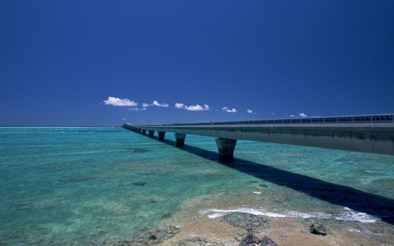 clouds landscapes nature bridges beaches wallpaper