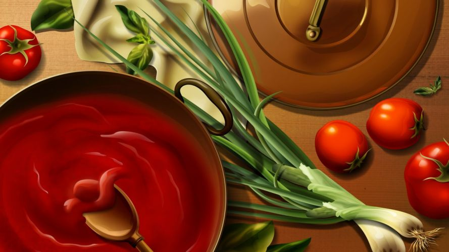 food spoons cooking tomatoes wallpaper