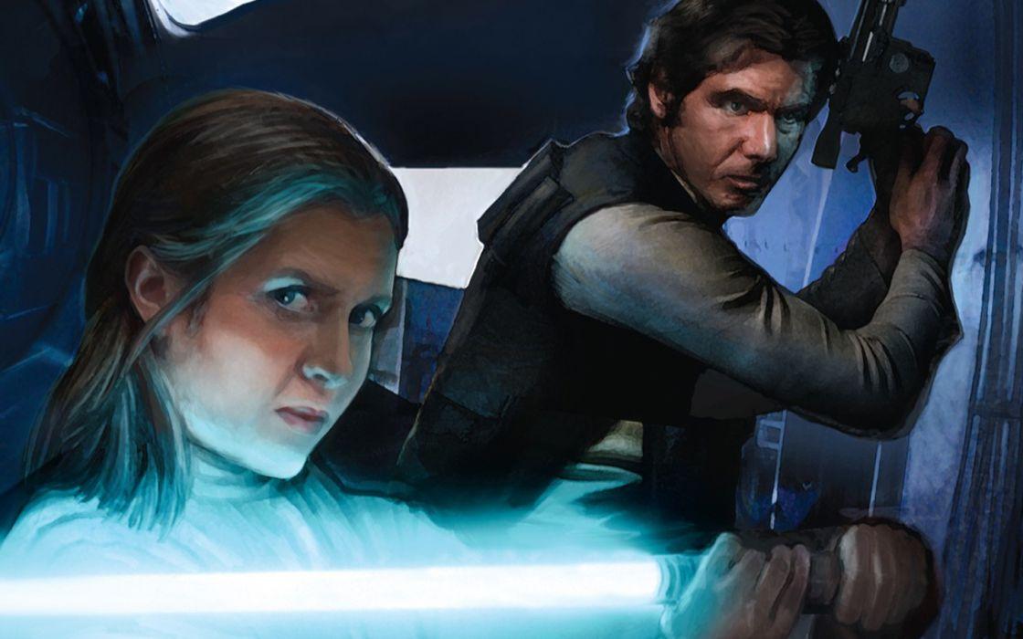 Star Wars Han Solo exile Leia Organa artwork wallpaper