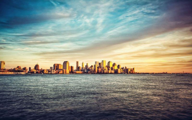 water clouds city skyline sea wallpaper