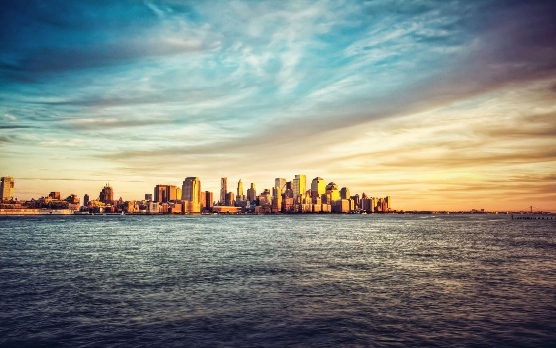 water clouds city skyline sea wallpaper