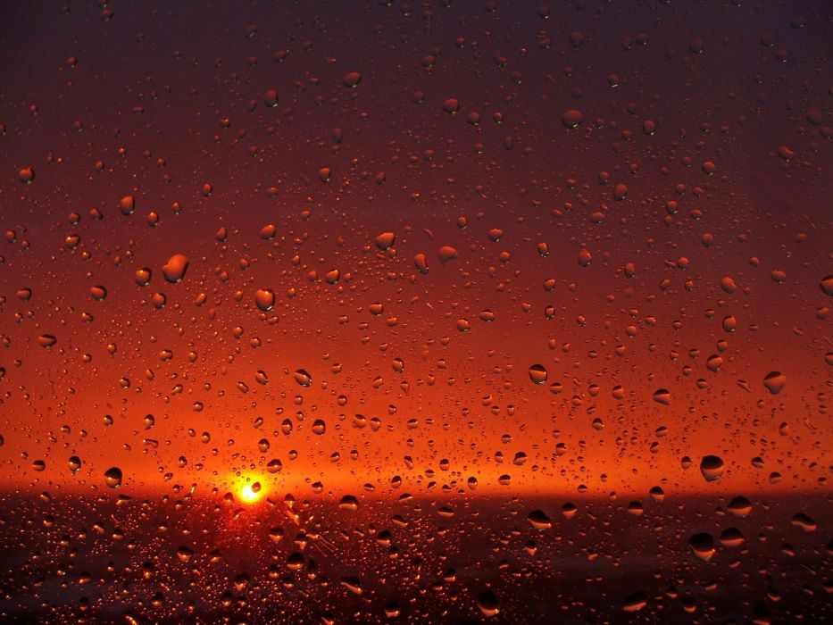 sunset rain glass raindrops Ray SchAIA wallpaper