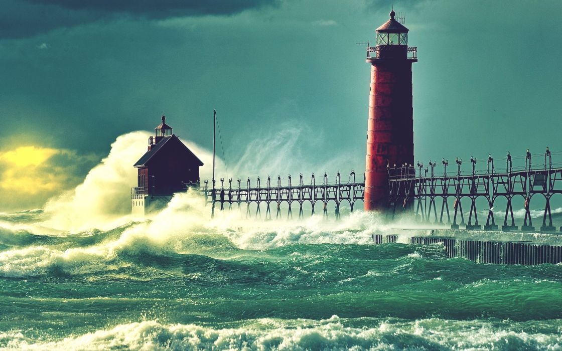 lighthouses sea wallpaper