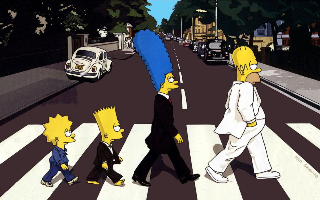 Abbey Road parody The Simpsons wallpaper