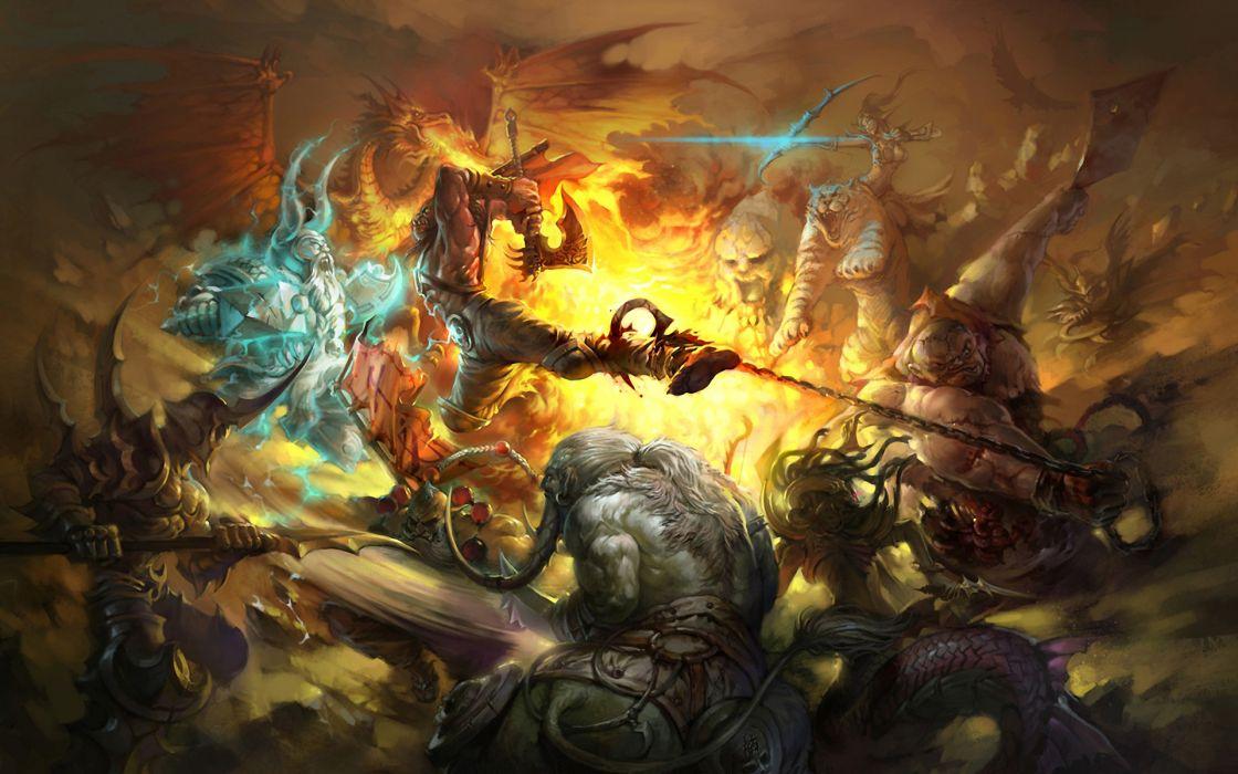 dragons monsters fire tigers fantasy art DotA warriors action swords bow (weapon) WarCraft III wallpaper