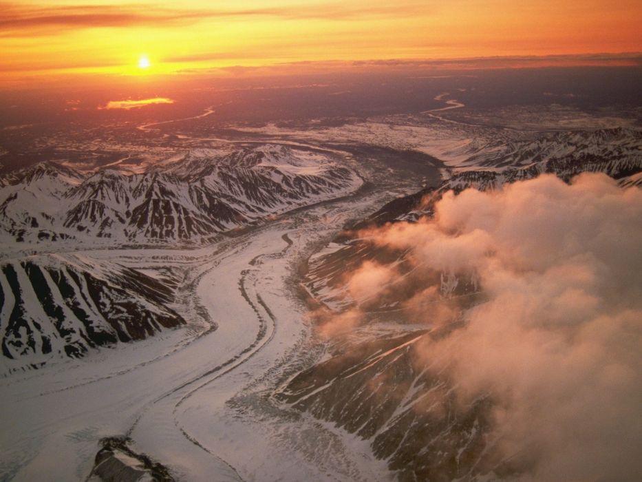 mountains landscapes Sun wallpaper