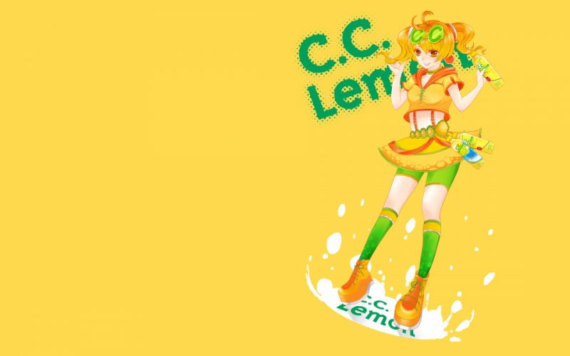 blondes skirts brown eyes twintails simple background anime girls yellow background hair ornaments c_c_ Lemon wallpaper