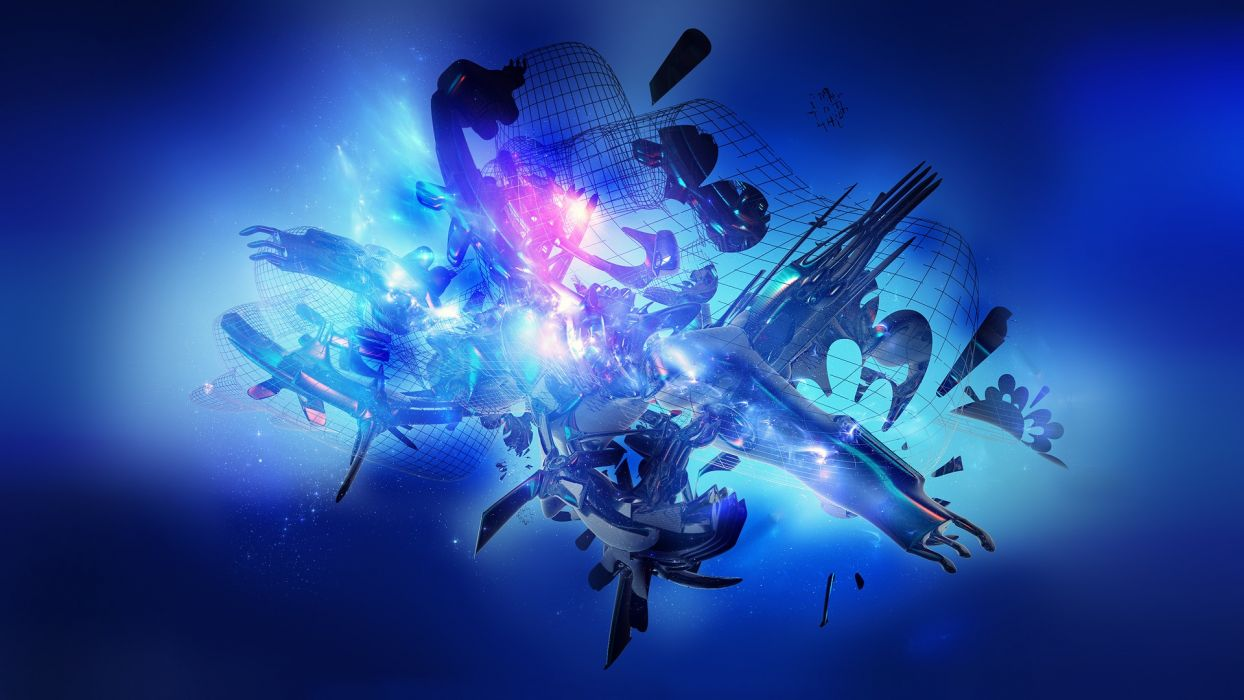 3D view abstract blue multicolor wallpaper