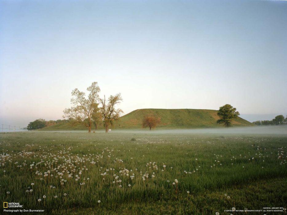 landscapes nature National Geographic Illinois Cohokia wallpaper