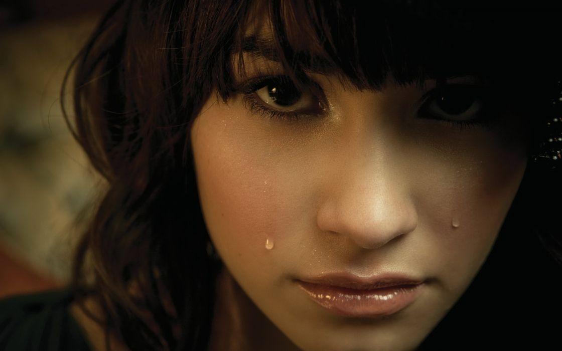 brunettes women close-up tears Demi Lovato bangs wallpaper