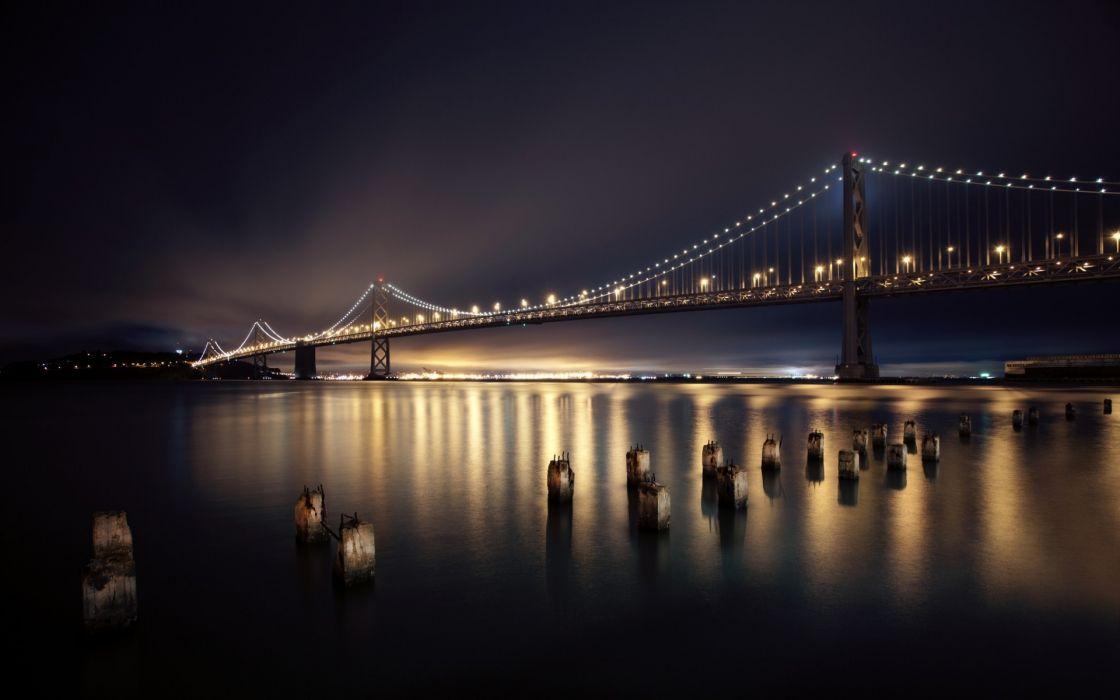 night bridges San Francisco city lights long exposure reflections wallpaper