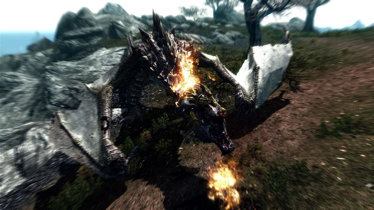 dragons CGI The Elder Scrolls V: Skyrim games wallpaper