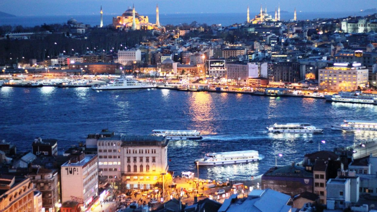 cityscapes night lights Turkey Istanbul citylights cities wallpaper