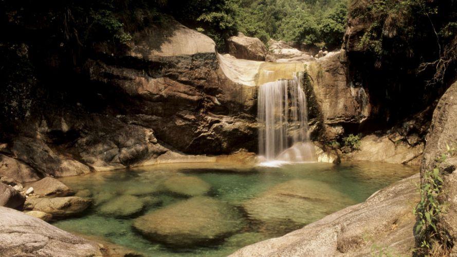 landscapes stones waterfalls wallpaper