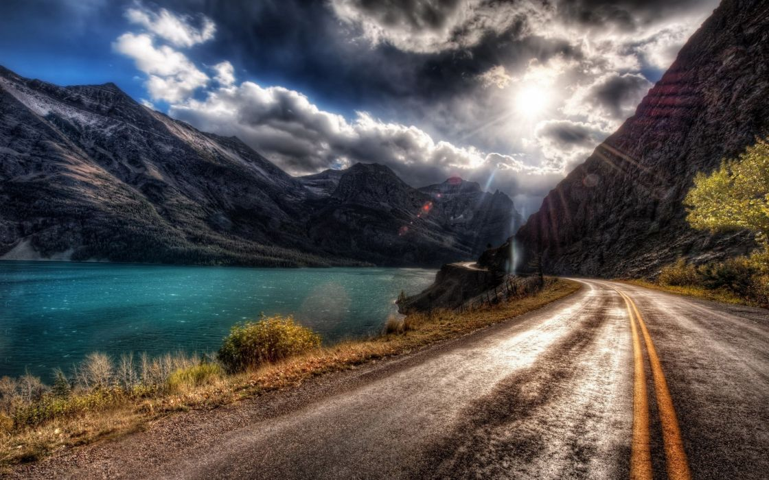 water blue mountains landscapes roads HDR photography wallpaper