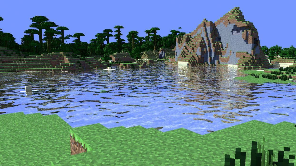 water jungle Minecraft cinema 4d tapeta wallpaper