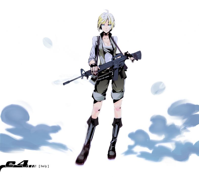 blondes guns blue eyes weapons anime M16A4 simple background white background wallpaper