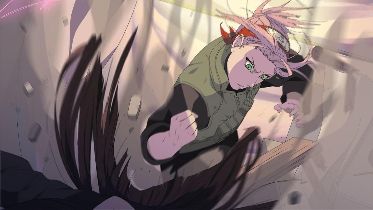 Fighting Ninjas Haruno Sakura Naruto Shippuden Green Eyes Pink
