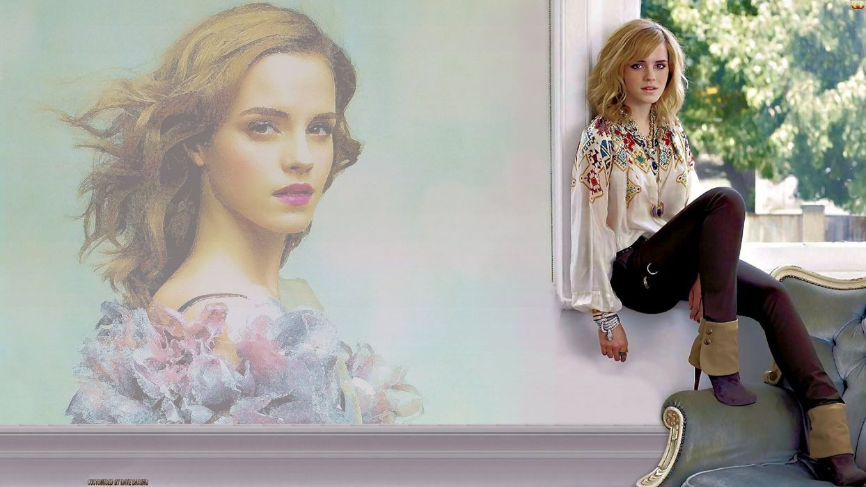 blondes women Emma Watson models window faces photo manipulation wallpaper