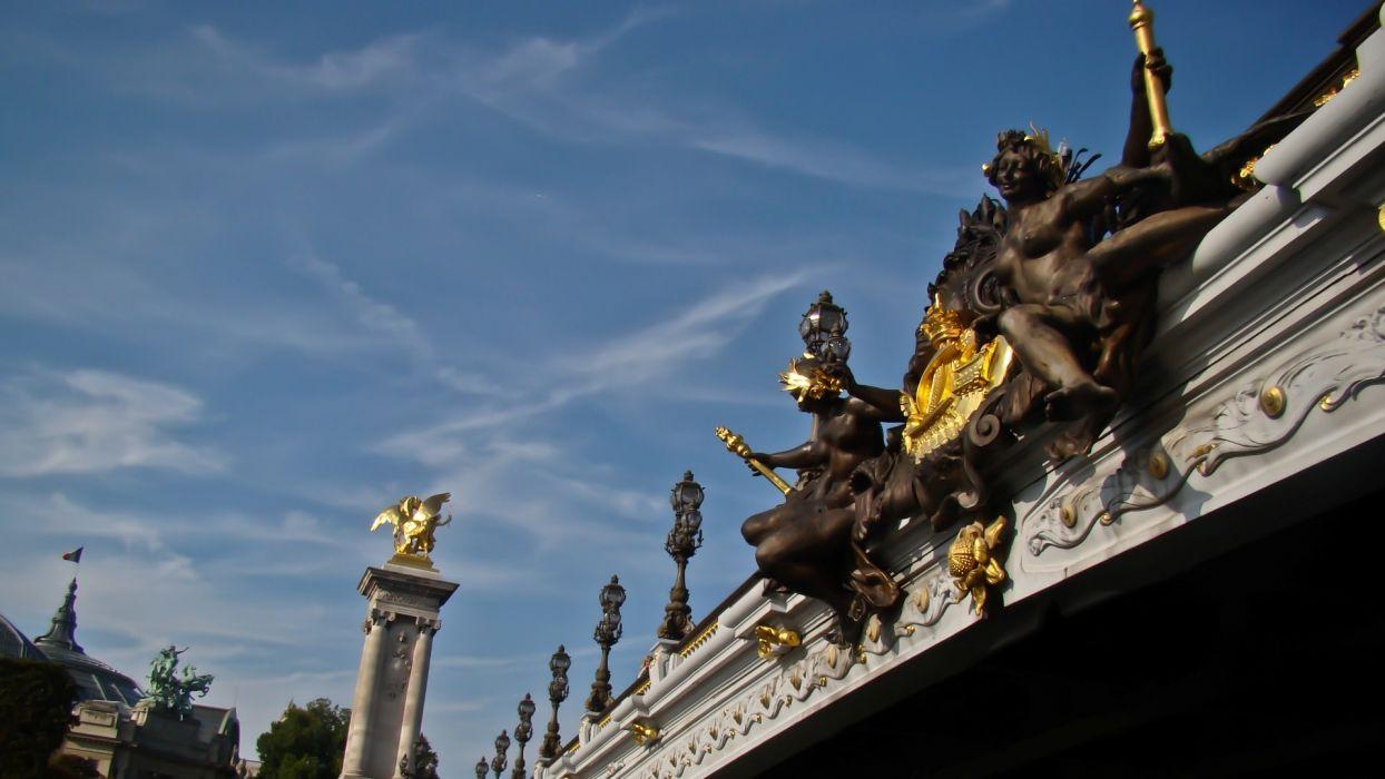 Paris clouds France bridges rivers blue skies skies wallpaper