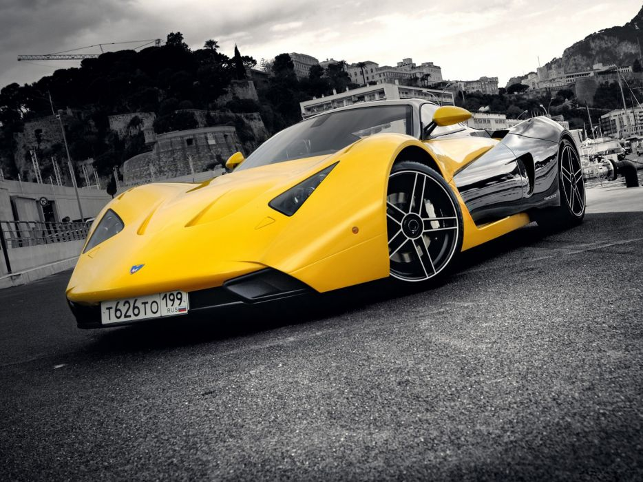 cars supercars selective coloring Marussia Marussia B1 russian cars wallpaper