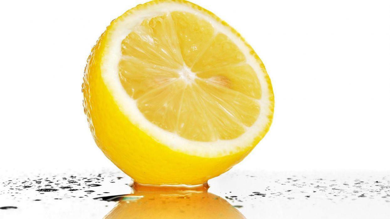 fruits water drops lemons wallpaper