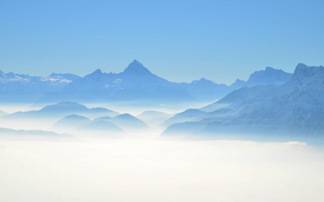 mountains landscapes nature fog wallpaper