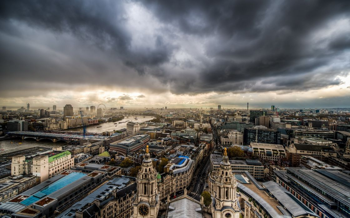 clouds cityscapes night storm buildings wallpaper