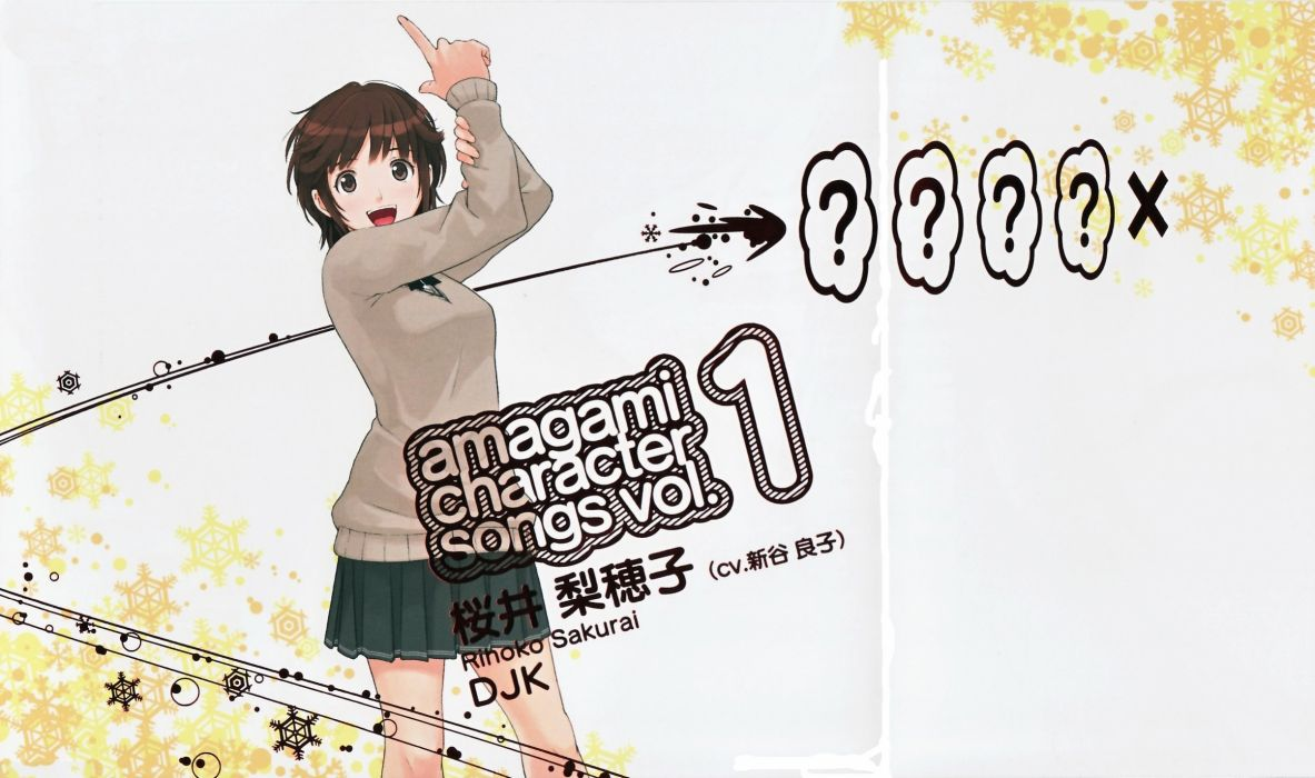 brunettes text school uniforms schoolgirls skirts brown eyes short hair Amagami SS snowflakes open mouth Sakurai Rihoko laughing anime girls arms raised bangs scans sweaters wallpaper