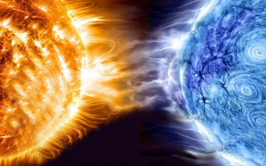 blue Sun outer space white planets collision graphics wallpaper