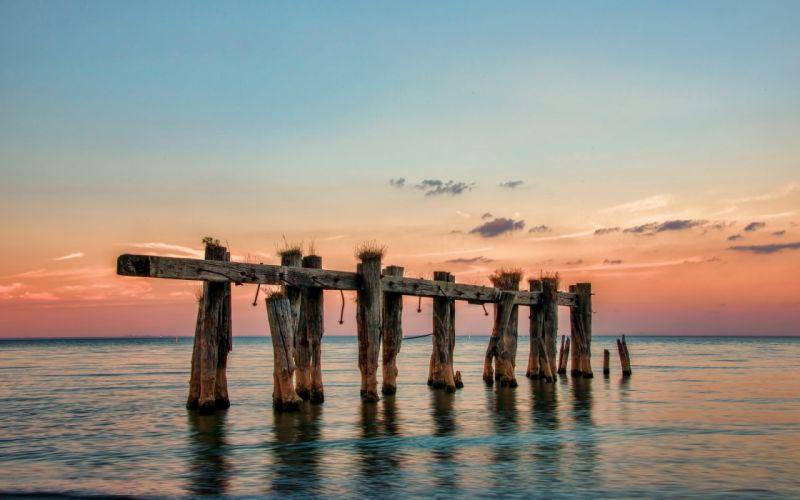 sunset piers Canada sea ontario wallpaper